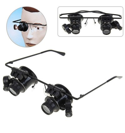 New Design Binocular Glasses Type 20X Watch Repair Magnifier with LED Light (Black)