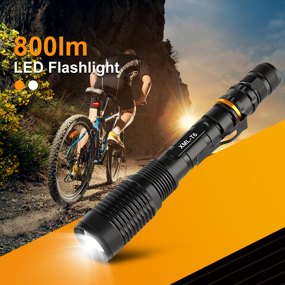 Zoomable 800 Lumens High Power T6 LED Flashlight Torch 18650 With Battery
