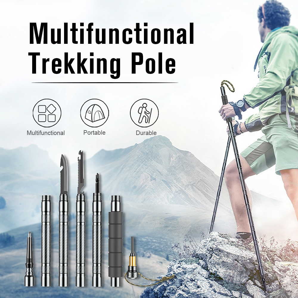 Multifunctional Trekking Pole Self Defense Stick Camping Supplies Set Suitable for Most Outdoor Activities