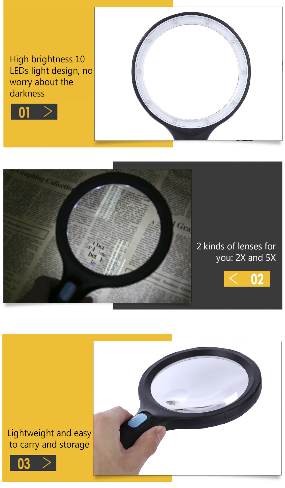 2X 5X High Brightness 10 LEDs Handheld Magnifier Magnified Tool