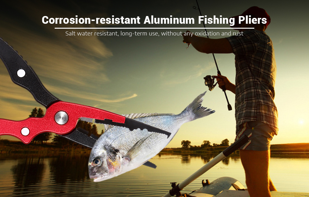 Aluminum Alloy Fishing Pliers Split Ring Cutter with Sheath and Retractable Tether Combo