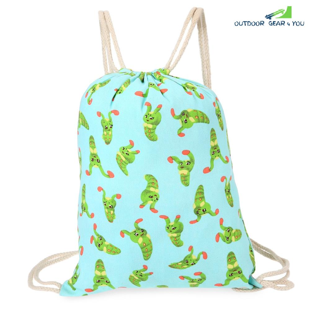 Cute Retro Canvas Drawstring Backpack 3D Printing Gym Beach Bag School Bag Fitness Tote Sack