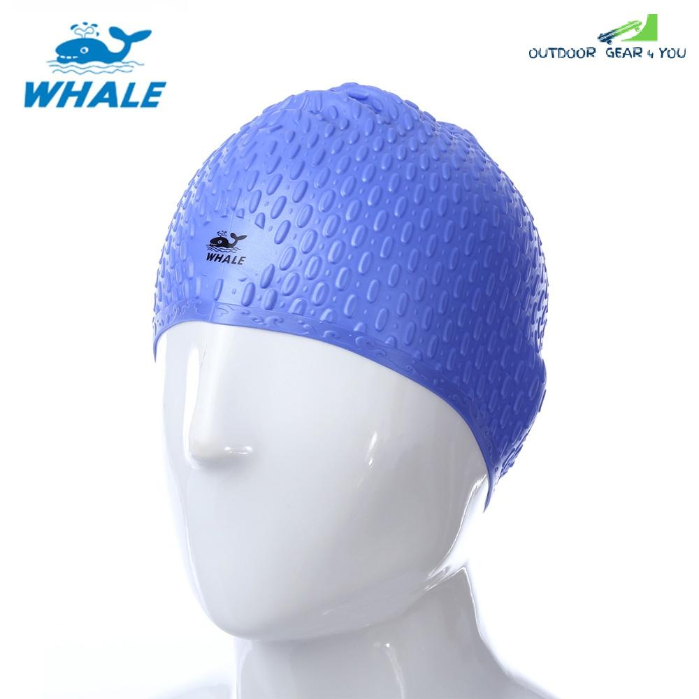 WHALE Unisex Adult Hair Ear Care Hat for Water Sport Waterproof Silicone Swimming Cap