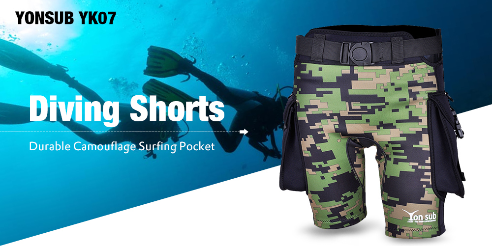 YONSUB YK07 Durable Camouflage Surfing Pocket Diving Shorts