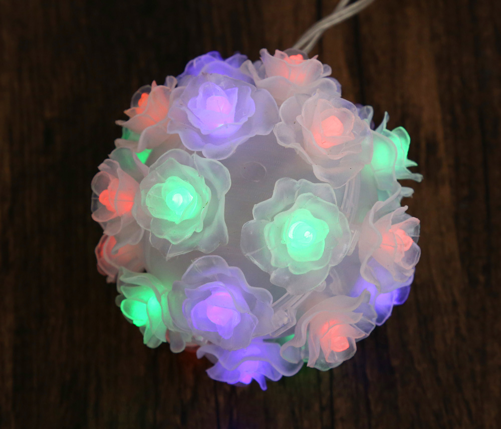 Solar Powered LED Rose Flower Lamp RGB Fairy String Light
