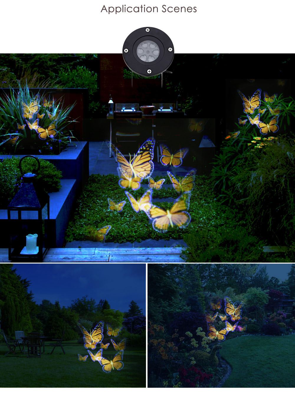 Lightme 100 - 240V 4W LED Waterproof Colorful Butterfly Light