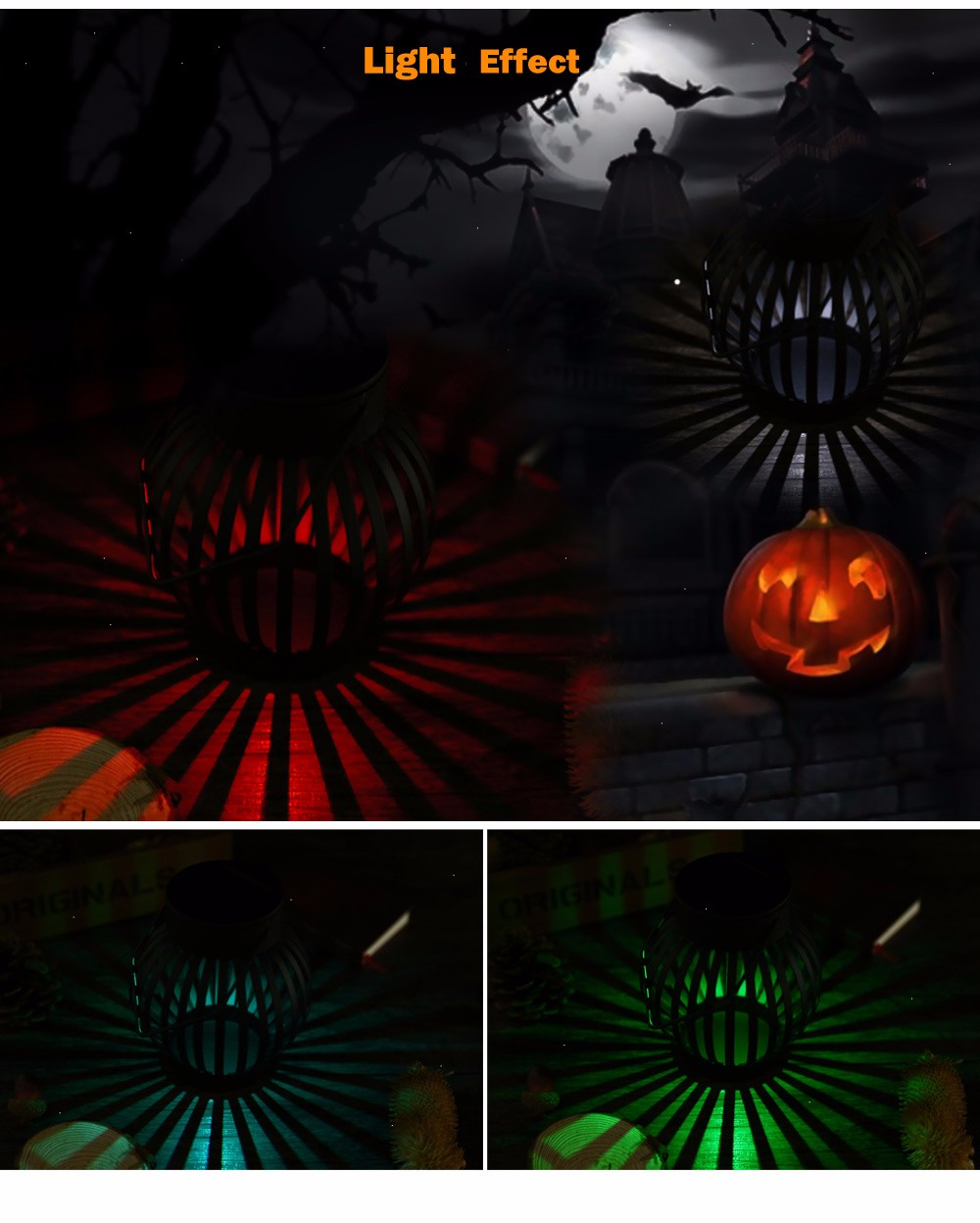 Circular Solar Powered LED Night Light Emergency Waterproof Pumpkin Lamp