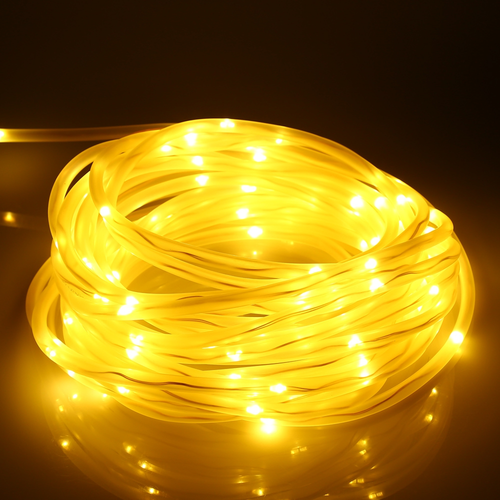 Solar Powered 100-LED Hollow Tube Copper Wire String Light