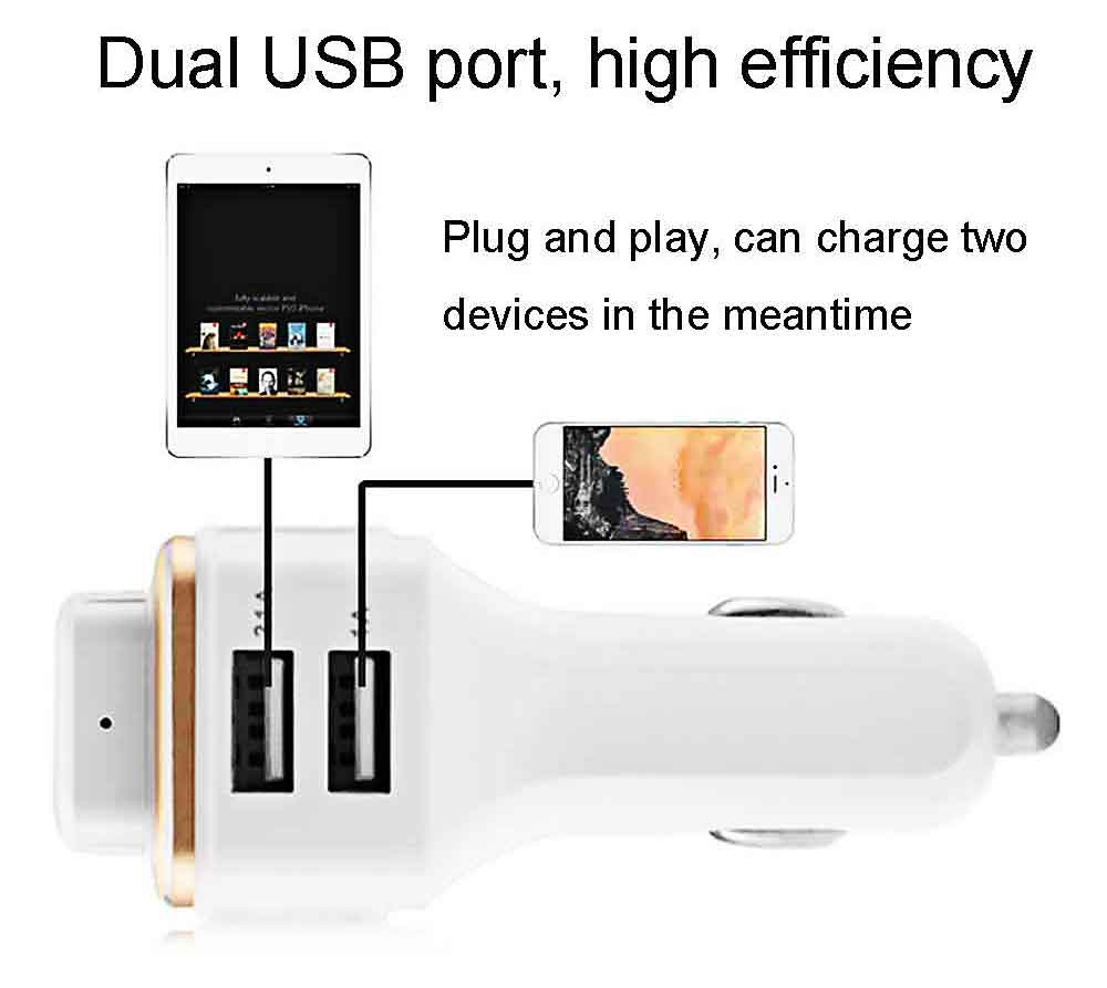 TL10 Multifunction Car Oxygen Bar Dual USB Charger Adapter Bluetooth V4.0 Hands-free Earphone