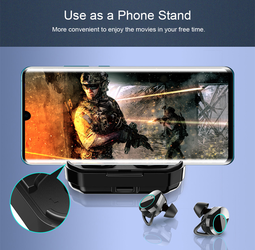 T3S 6D Stereo Bluetooth Earphones Digital Display Waterproof Noise Reduction for Android / iOS